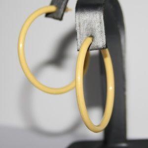 Vintage plastic yellow retro hoop earrings